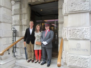 Matthew and Terry with Collin, the doorman, outside of the historic Christie's building