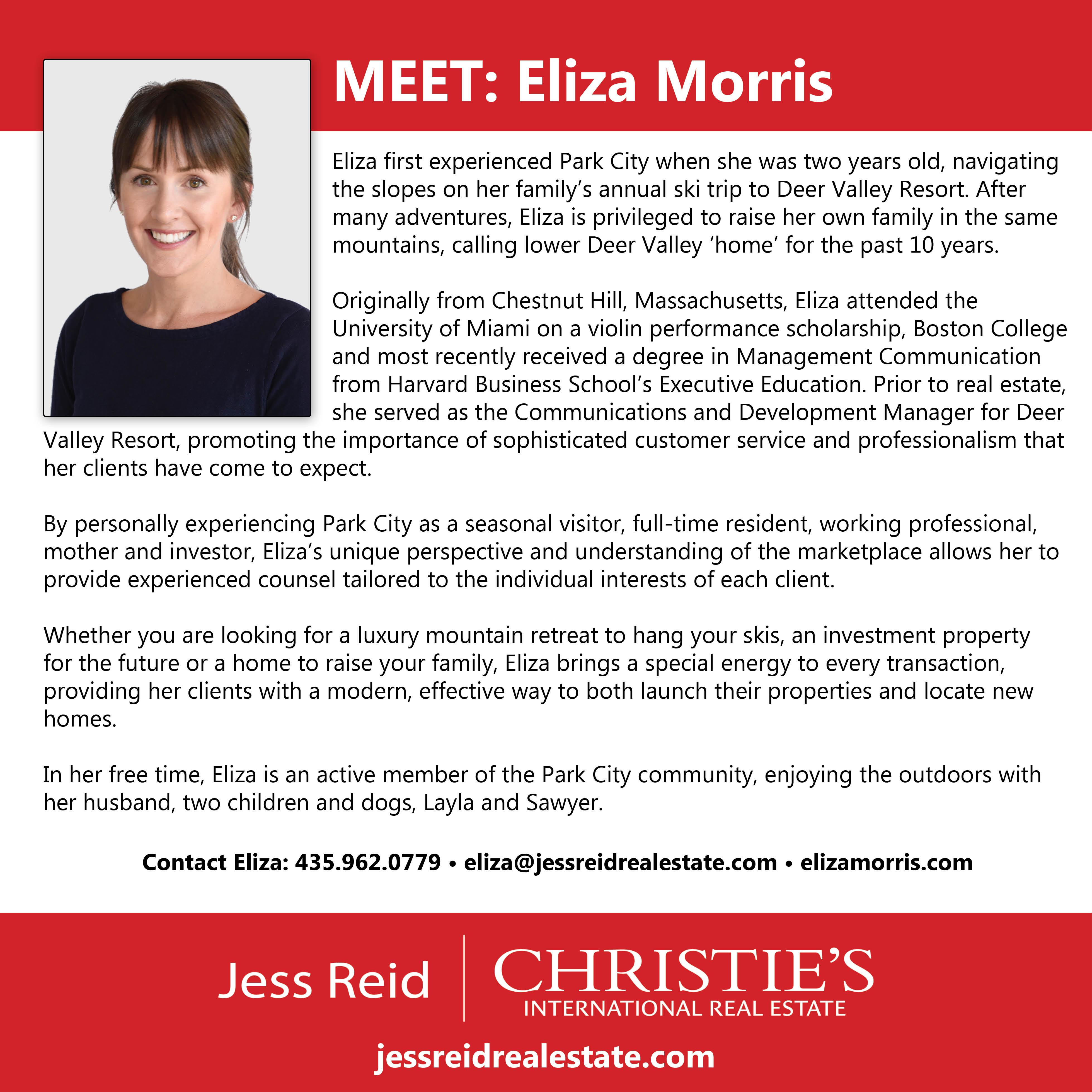 Welcome Eliza Morris
